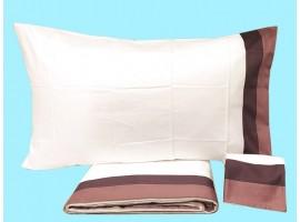 Completo lenzuola singole puro cotone pettinato Bianco Perla